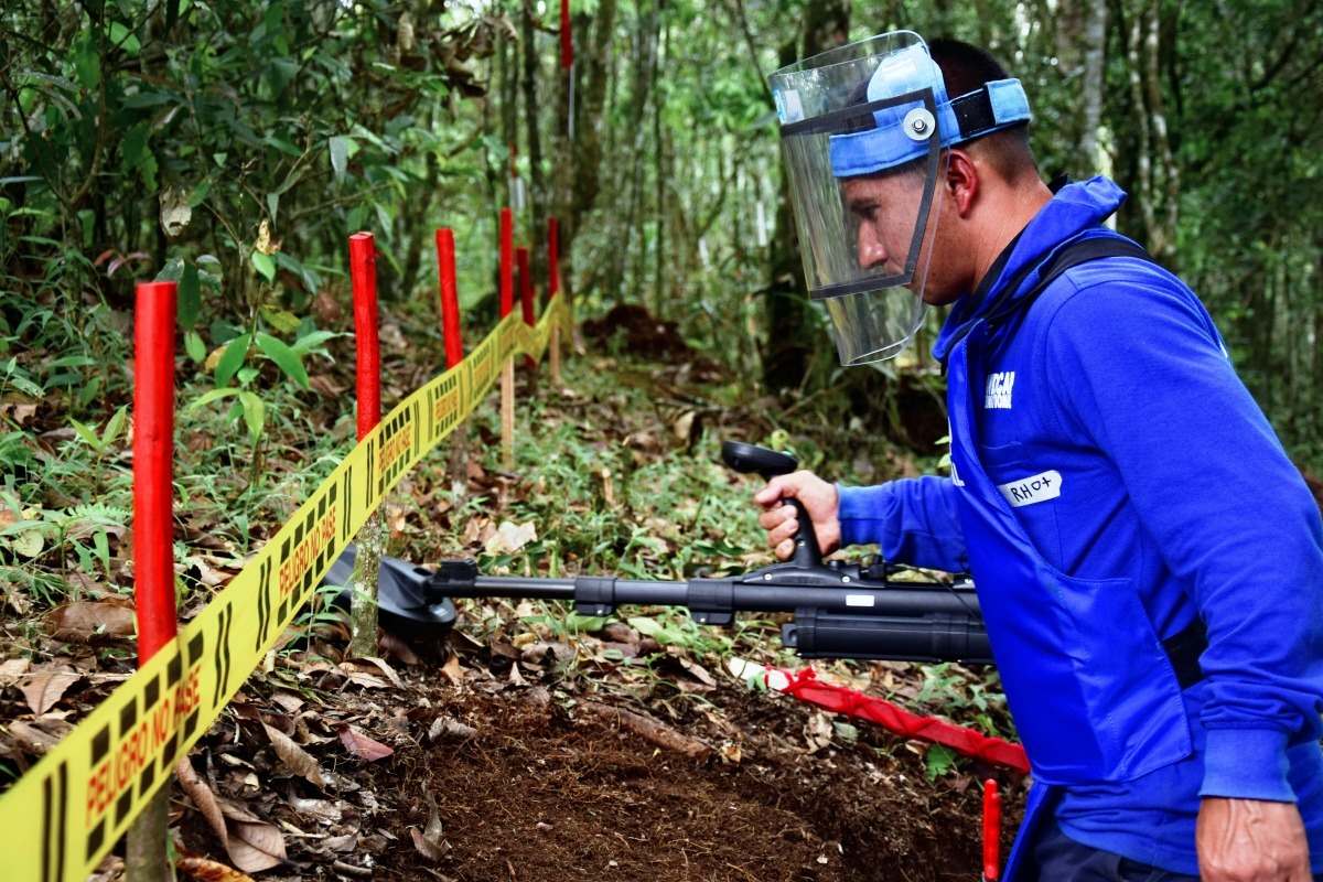 Clearing hazardous land in Colombia