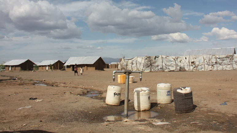 In this dry region of Kakuma refugee camps in Kenya refugee populations do not have easy access to water