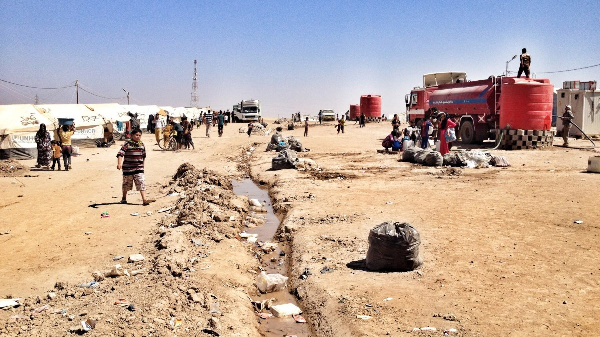 Khazir camp where internally displaced Iraqi people are staying after fleeing areas of conflict