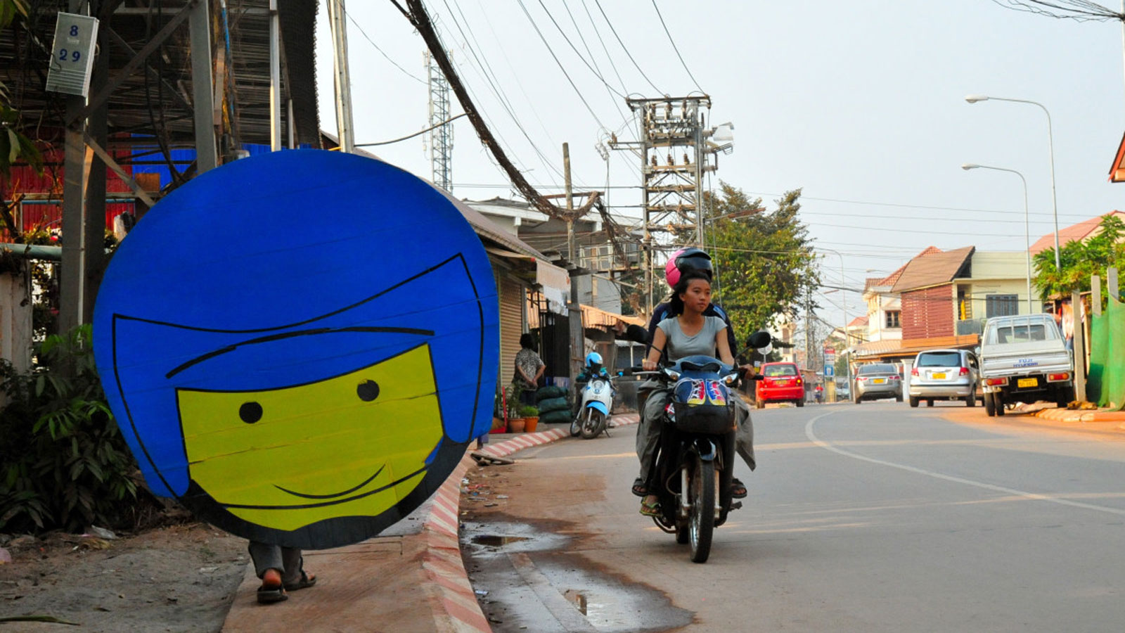 A sign in Laos to encourage road safety