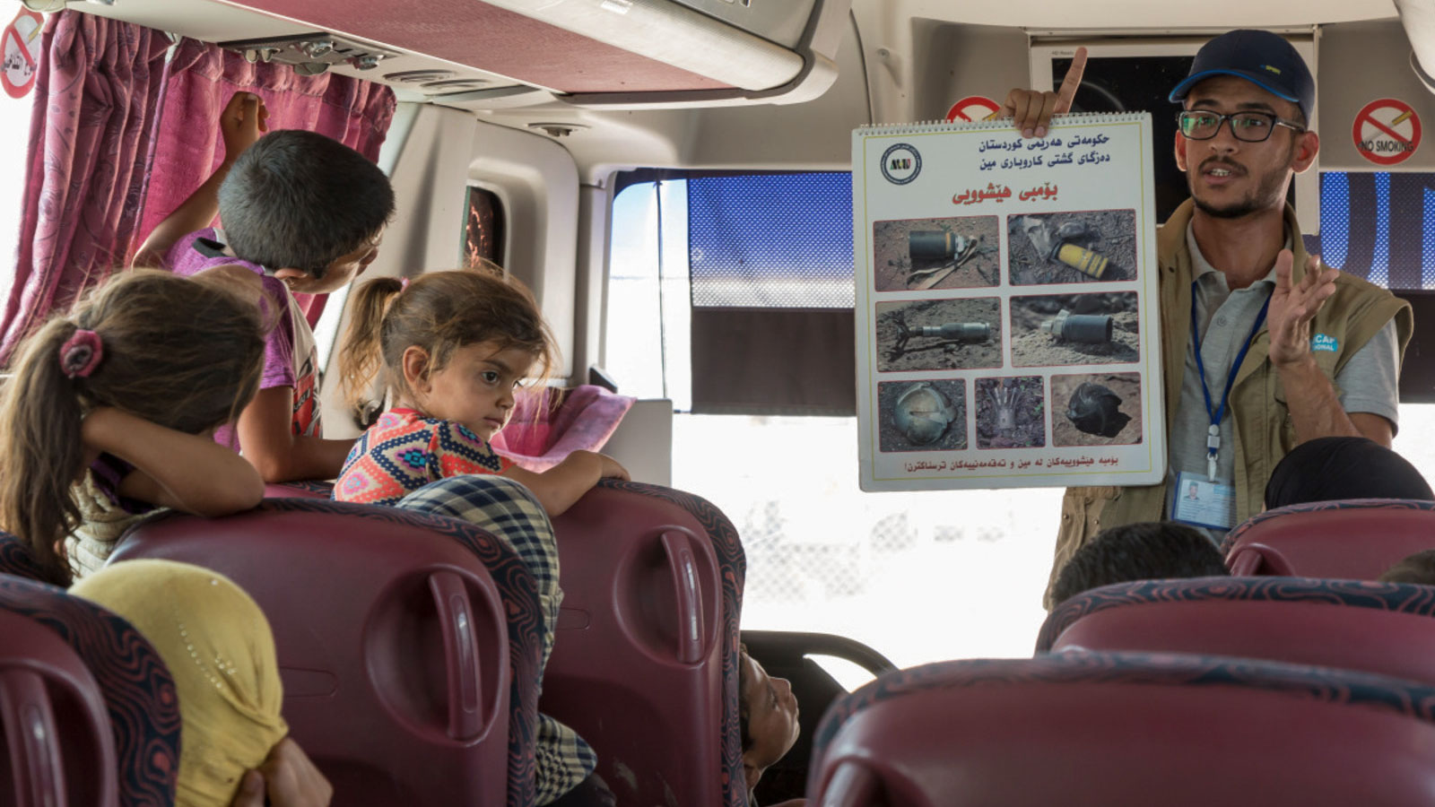 Risk education on buses in Mosul Iraq