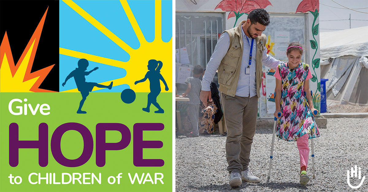 An HI physical therapist teaches Shahed, 13, from Syria, how to walk with crutches following a leg amputation.