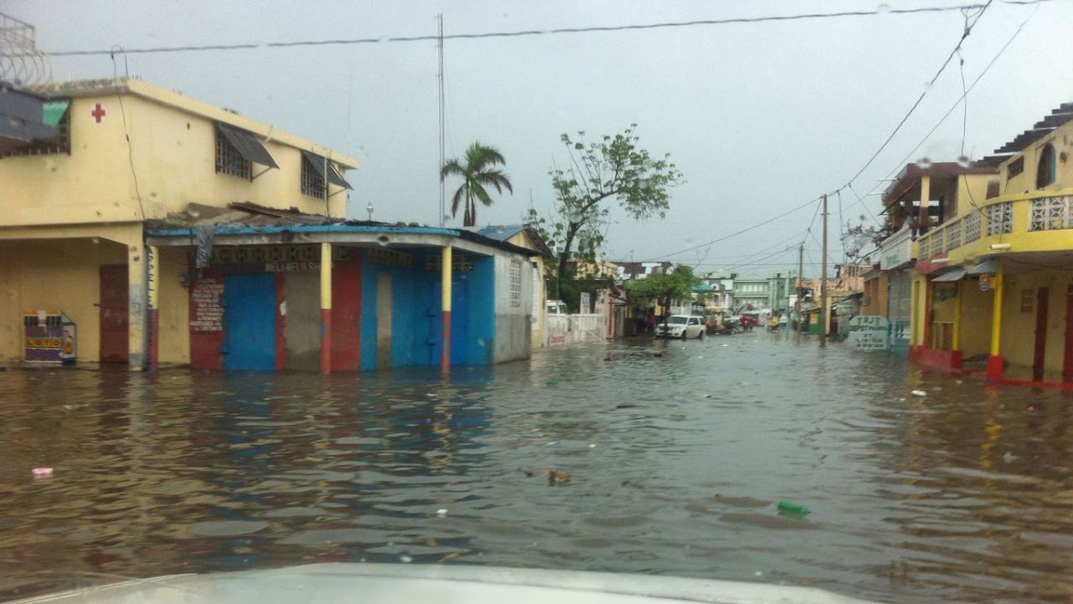 Flooding in a southern region of Haiti weeks after Hurricane Matthew