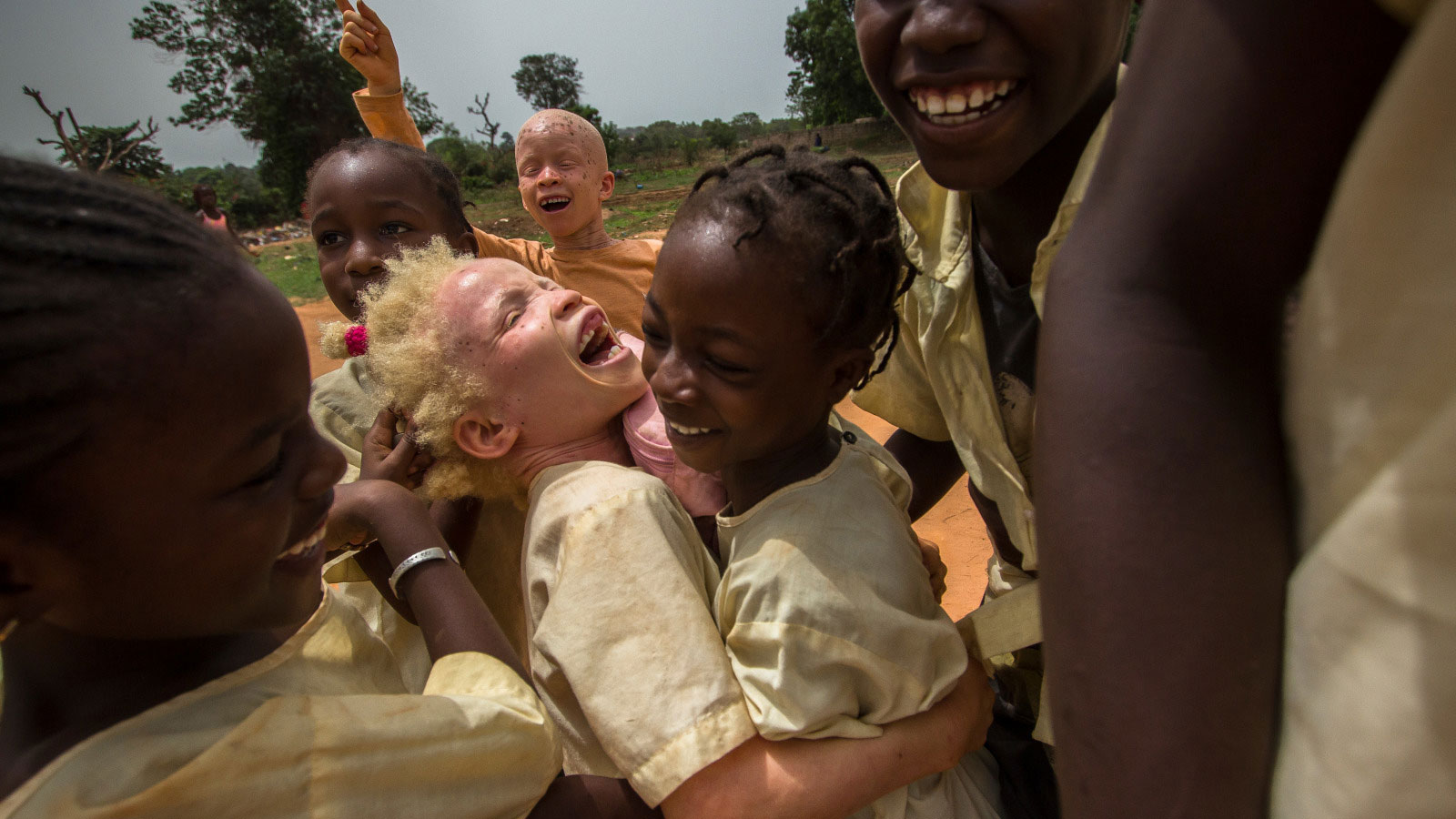 Aicha playing with her friends in Guinea-Bissau