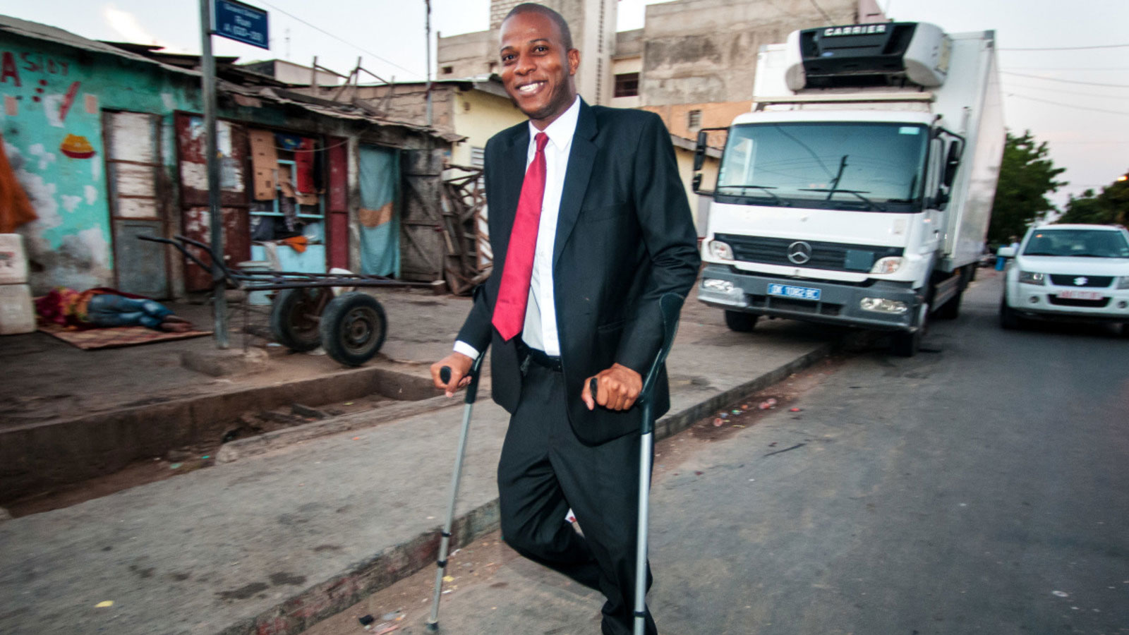 Boubacar walks to work in Senegal