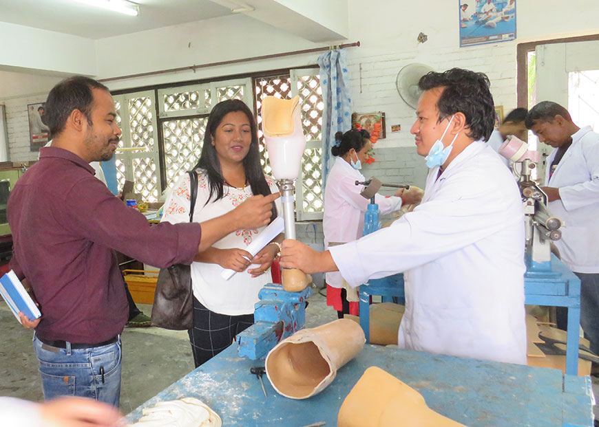 Sunita Bhandari of NANA visits NDF, a Kathmandu based rehabilitation center which is supported by Humanity & Inclusion in Nepal.