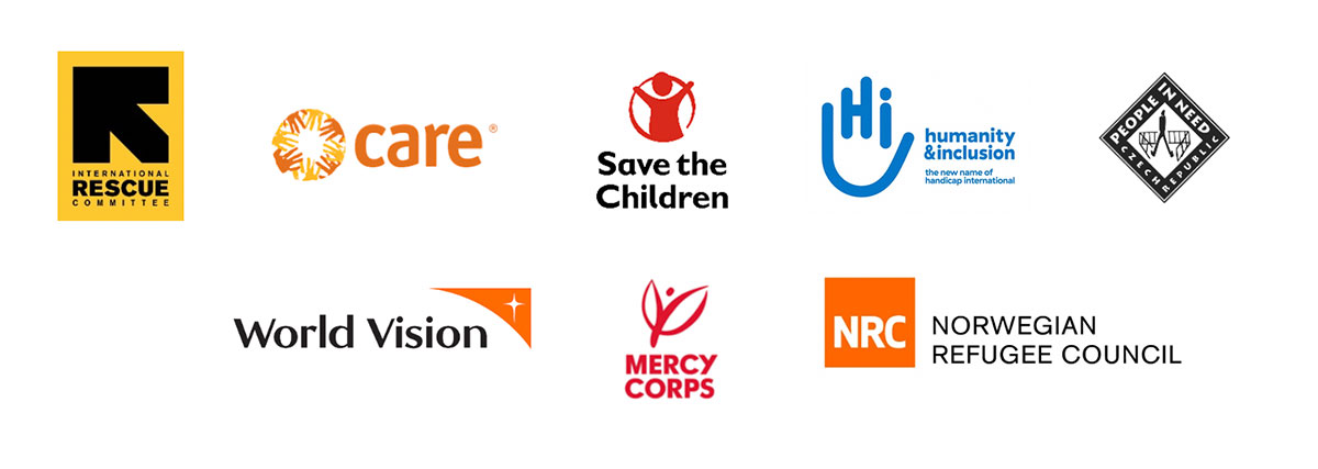 Logos of the 8 aid agencies: International Rescue Committee, CARE International, World Vision, Save the Children, Mercy Corps, People in Need, Humanity & Inclusion, and NRC
