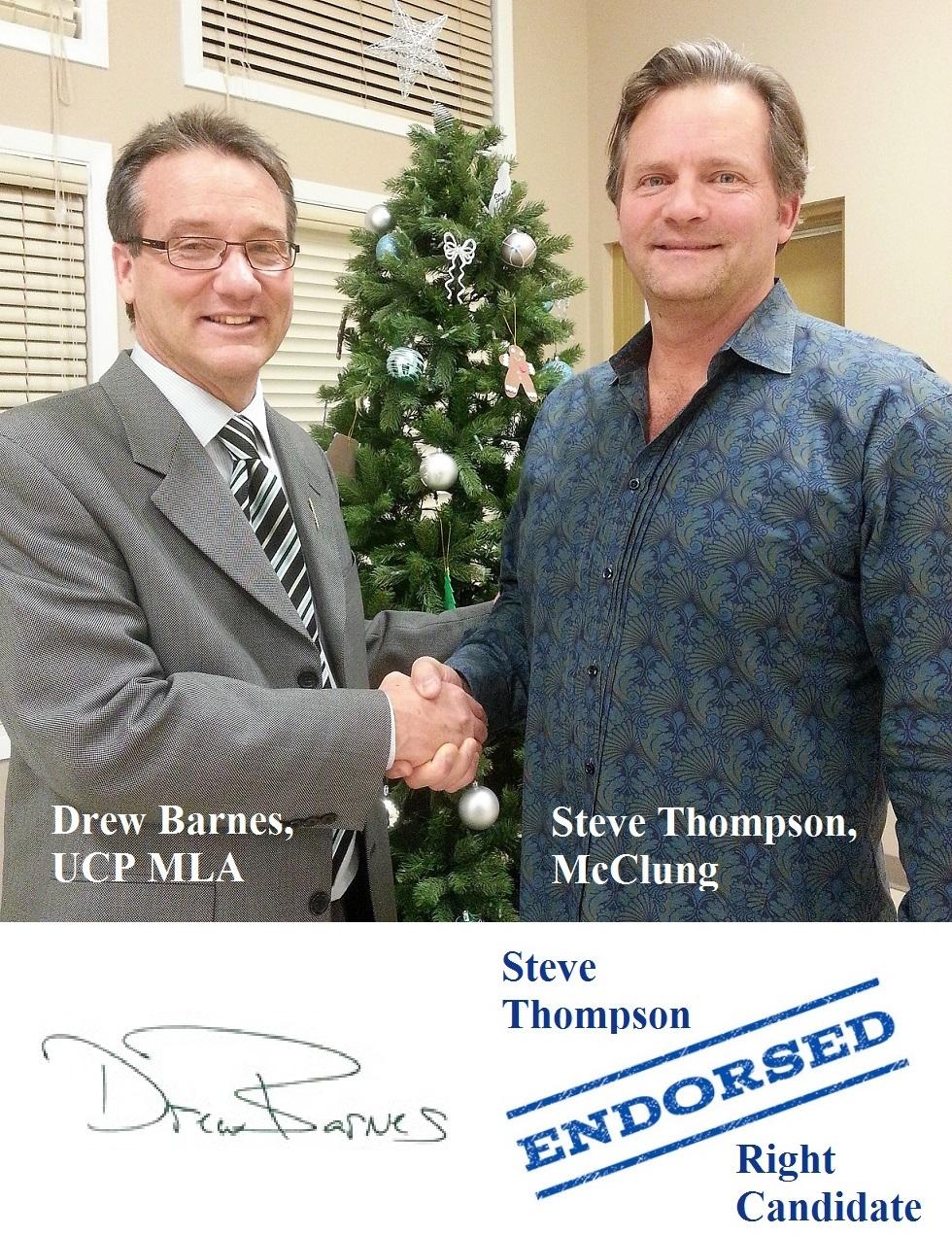 Drew Barnes UCP MLA Medicine Hat Alberta Endorsement
