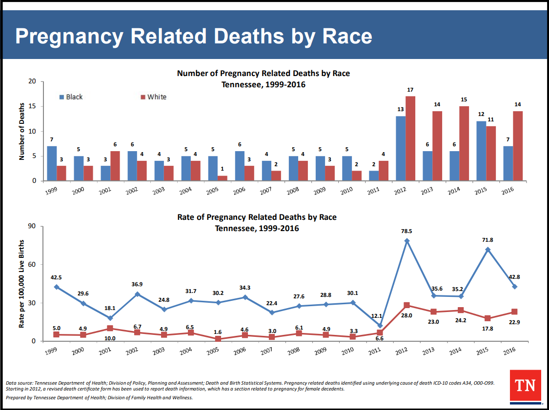 Pregnancy Related Deaths by Race from Tennessee Initiative for Perinatal Quality Care.