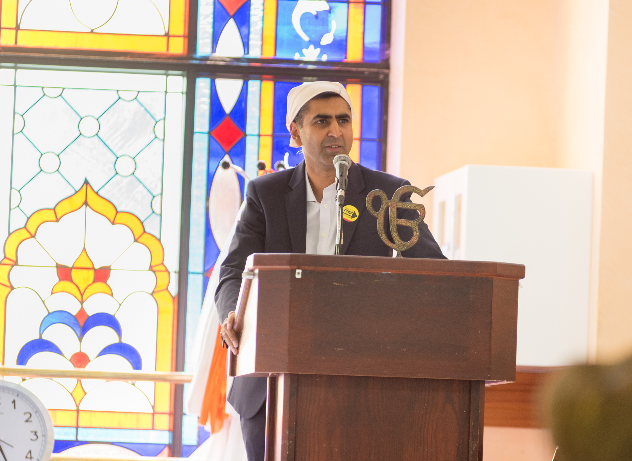 Parmjit speaking at the Gurdwara