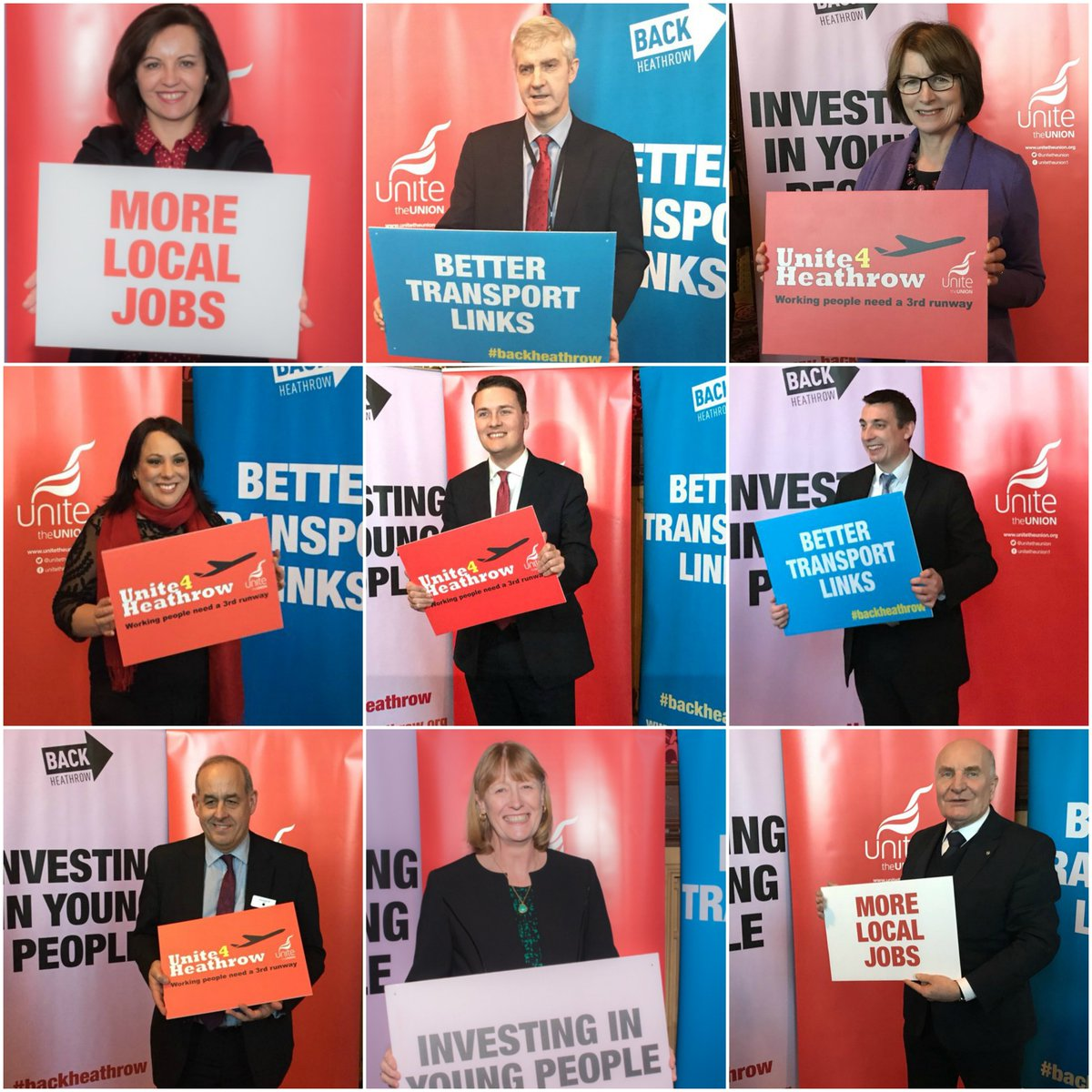 Nine of the numerous MPs who attended the Back Heathrow/Unite event