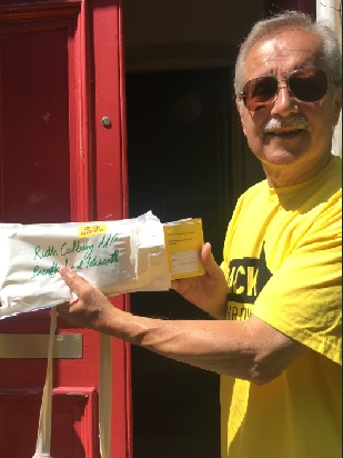 Back Heathrow supporter Fritz Pandalitschka handing in over 500 letters to Ruth Cadbury's office today.