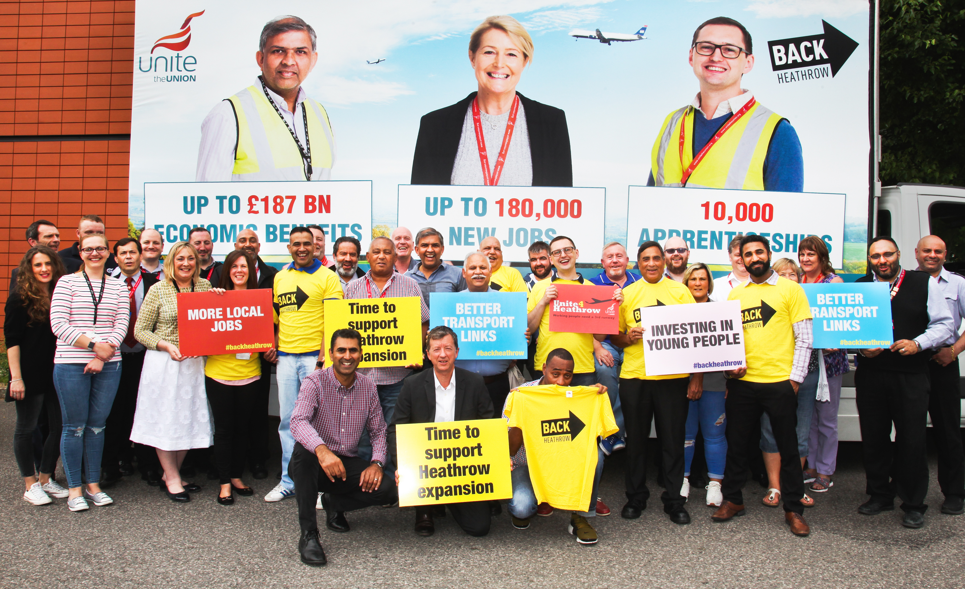 Back Heathrow and Unite the Union group photo