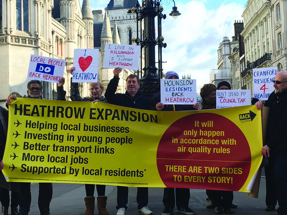 Back Heathrow supporters outside the High Court in March