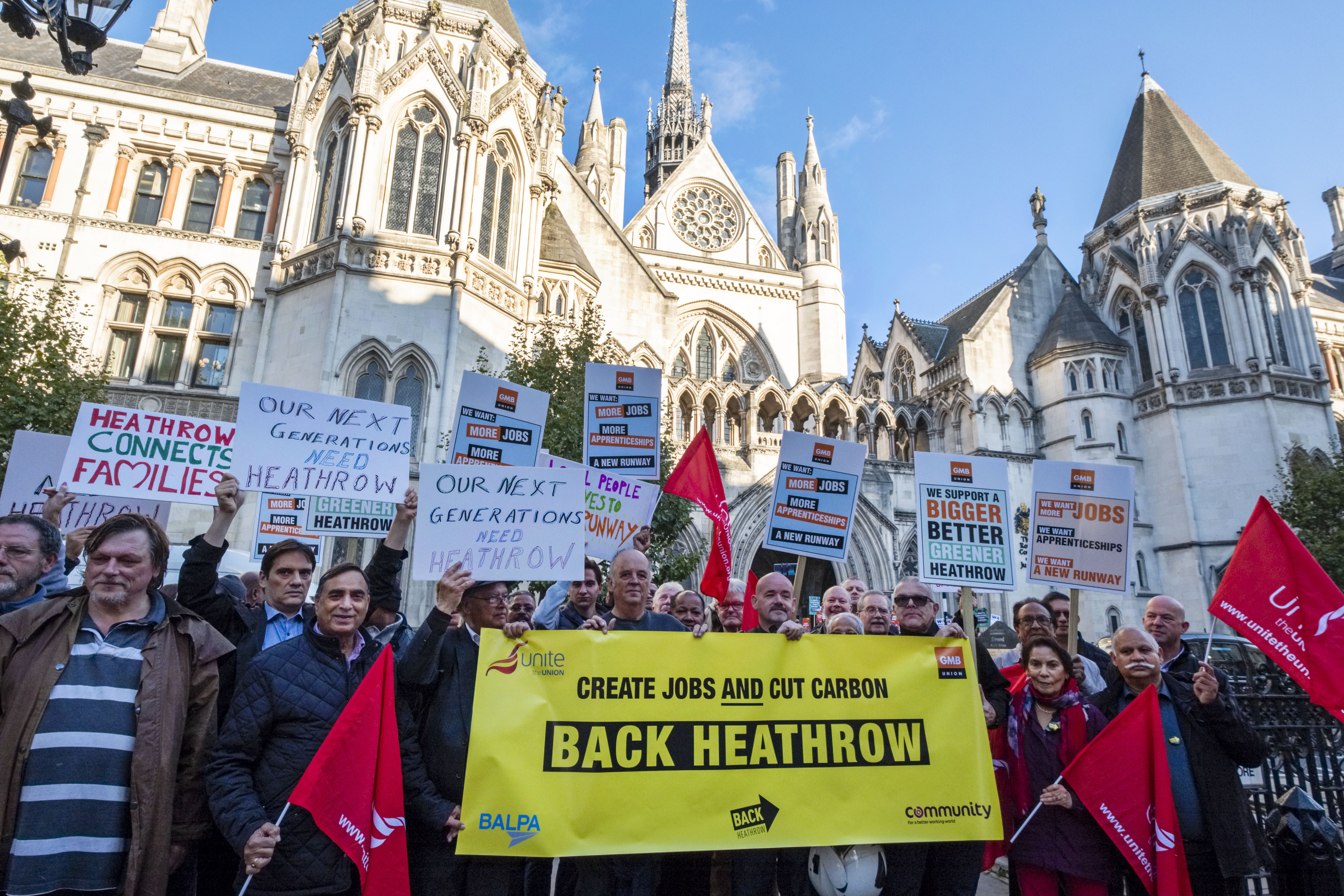 Back Heathrow supporters in front of Royal Courts of Justice