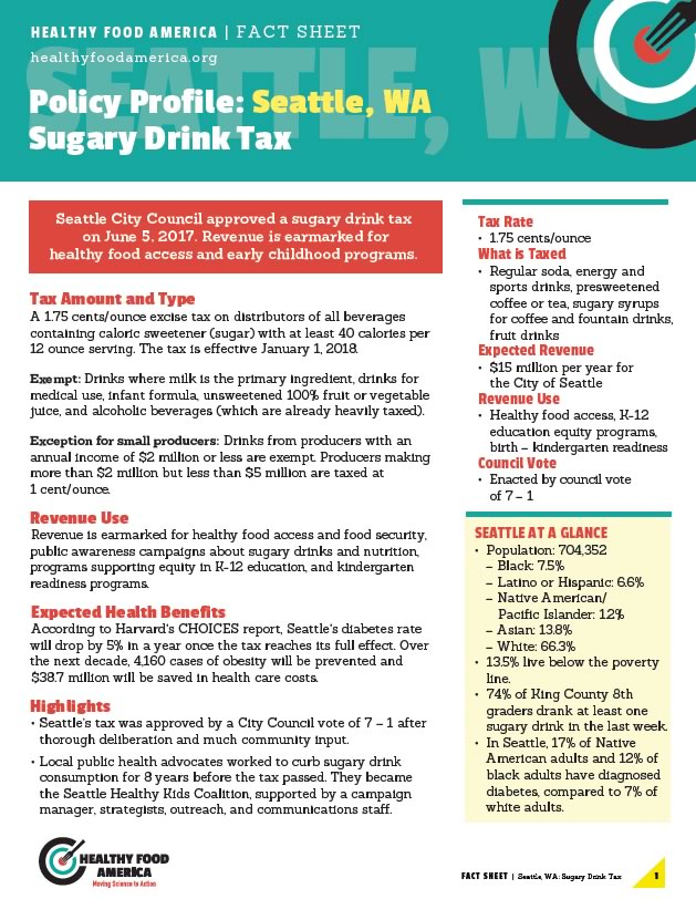 Seattle Tax Rate >> Policy Profile Seattle Wa Sugary Drink Tax Healthy Food