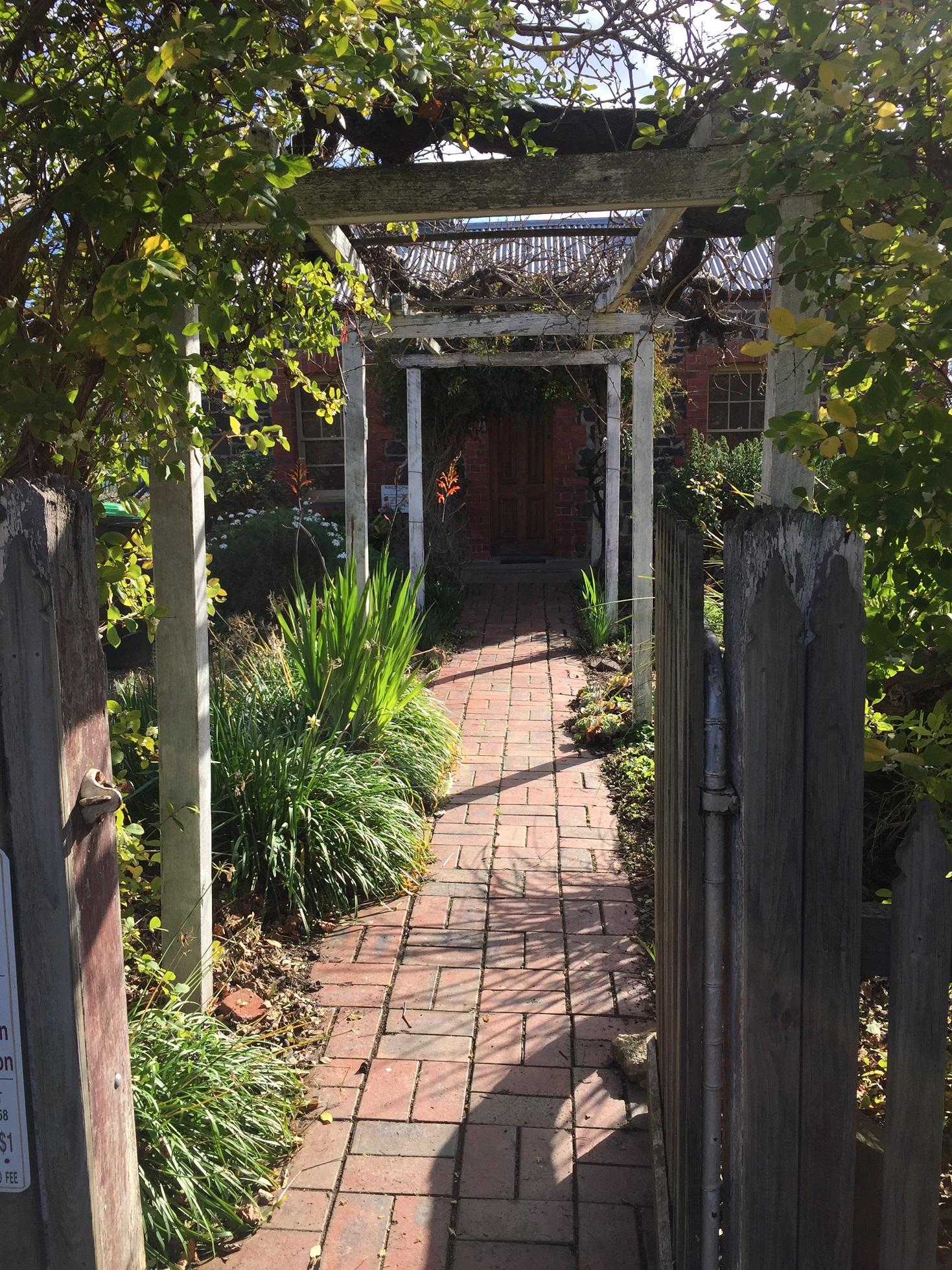 Cottage garden in winter sunshine
