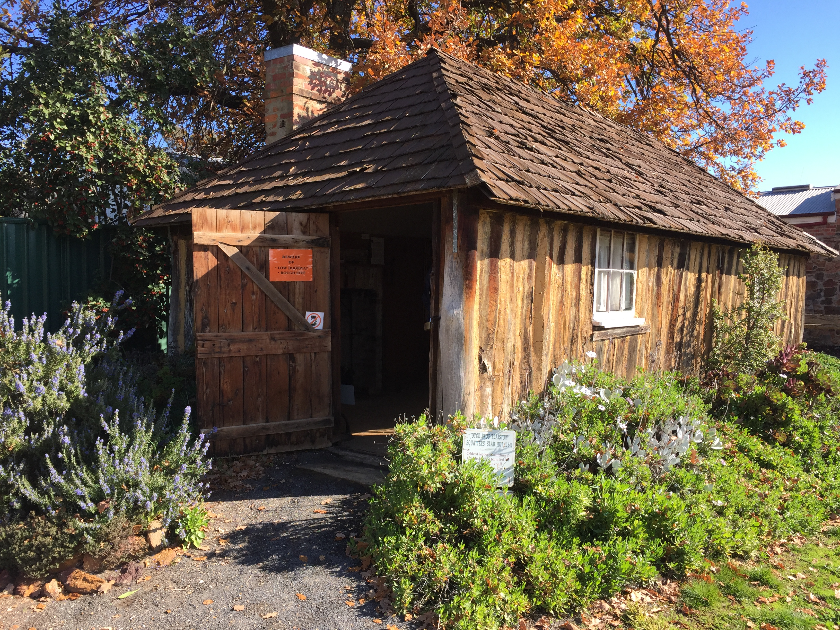 Slab hut from 1840s, relocated and restored
