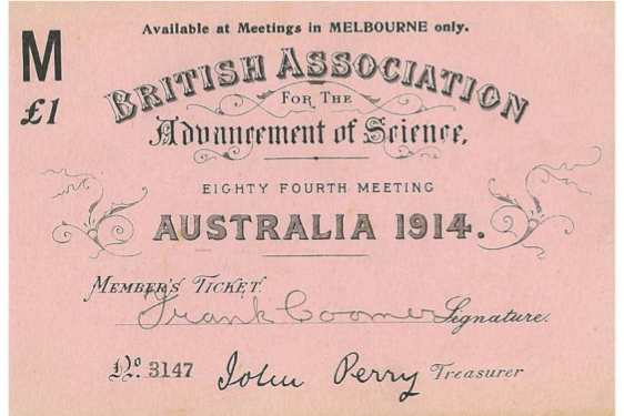 Ticket for Melbourne BAAS meeting, 1914
