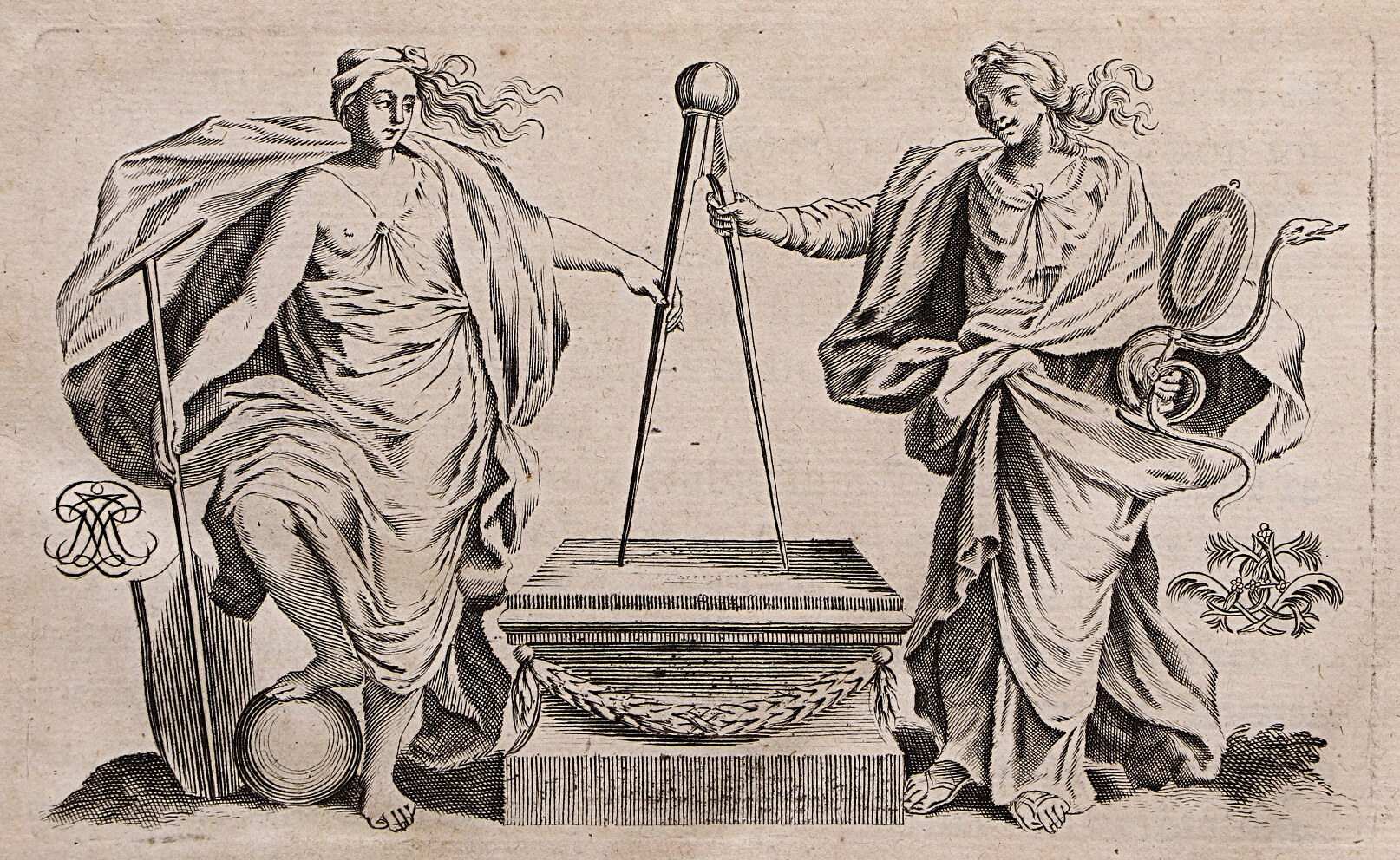 Two Virtues Holding a Compass, printed by Denise de Heuqueville, 1680