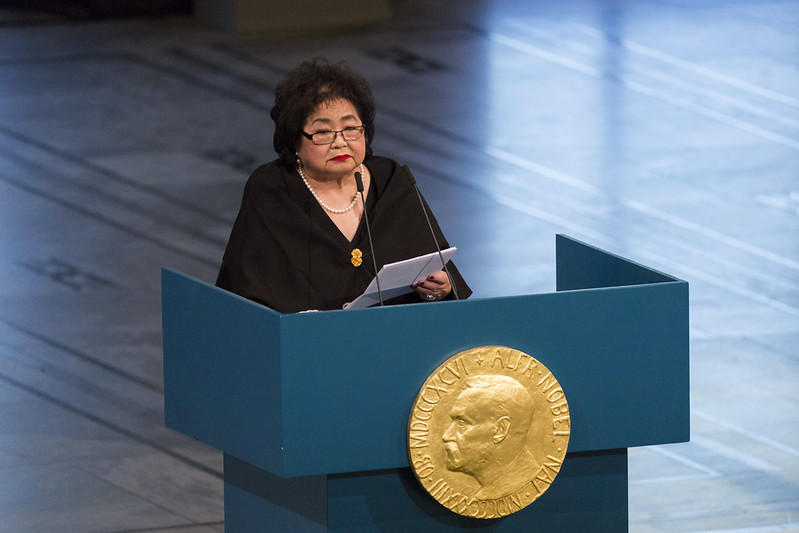 Setsuko Thurlow accepting the Nobel Peace Prize on behalf of ICAN in 2017; image courtesy ICAN