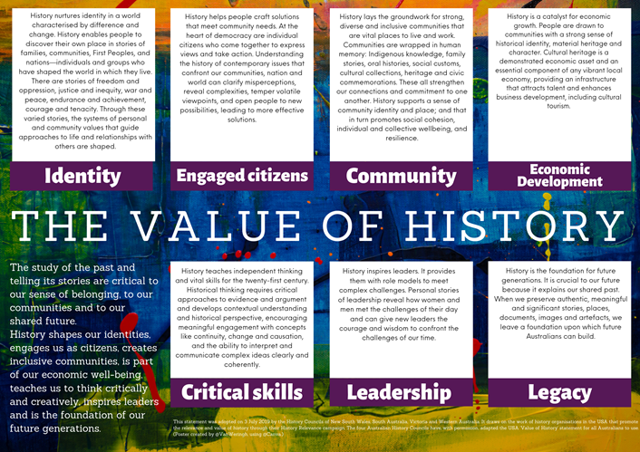 Poster by @vanweringh using the Value of History statement