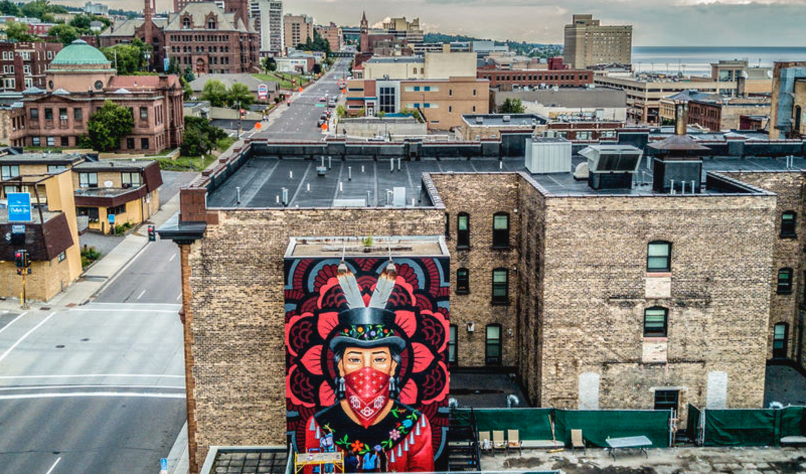 native statement mural nearing completion in downtown duluth an native statement mural nearing completion in downtown duluth an image of protest