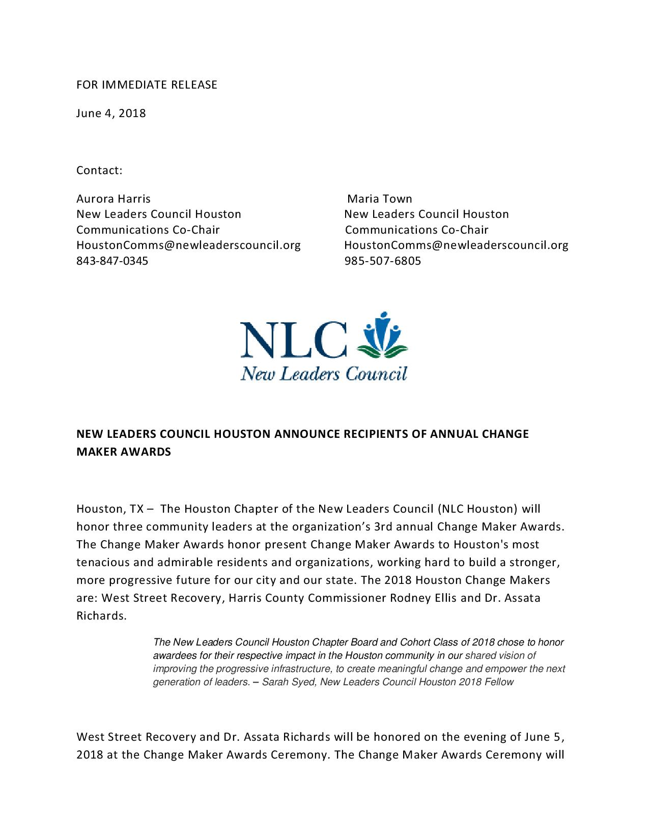 NLC Houston Announces Recipients of Annual Change Maker Awards