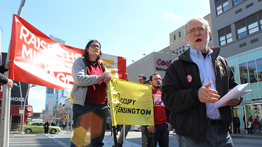Howie speaking at March 15 rally to raise the minimum wage to $15 organized by Socialist Alternative NYC
