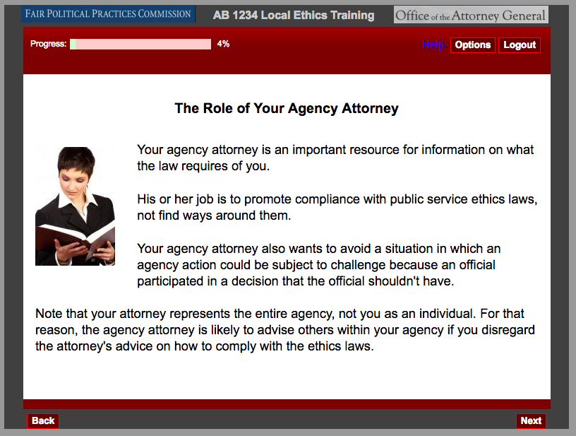 Screen capture of FCCP ethics training slide.