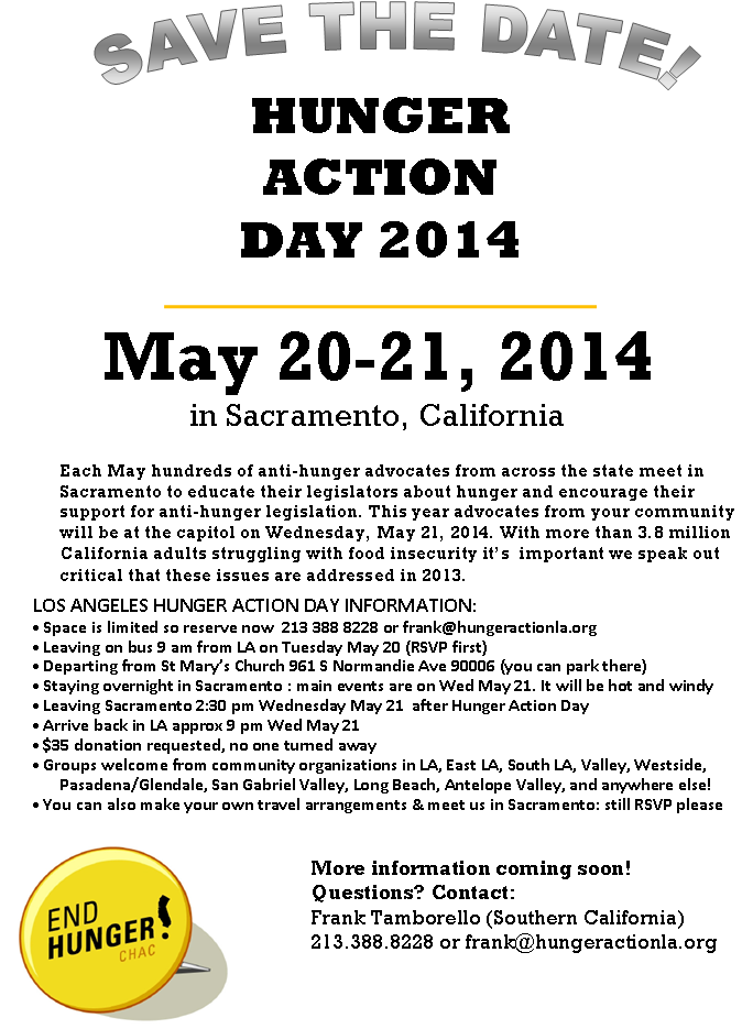 Hunger Action Day 2014 Flyer