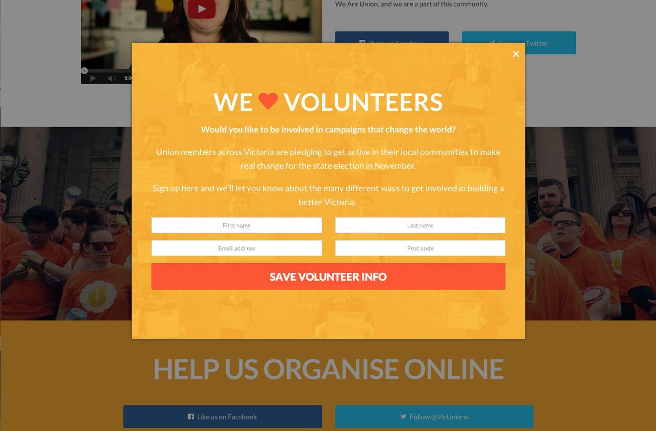 Screenshot: Volunteer Signup Modal