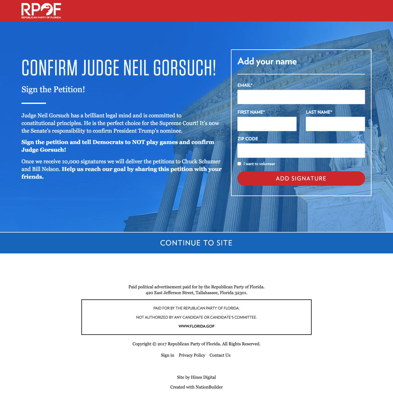 Screenshot: The Splash Page