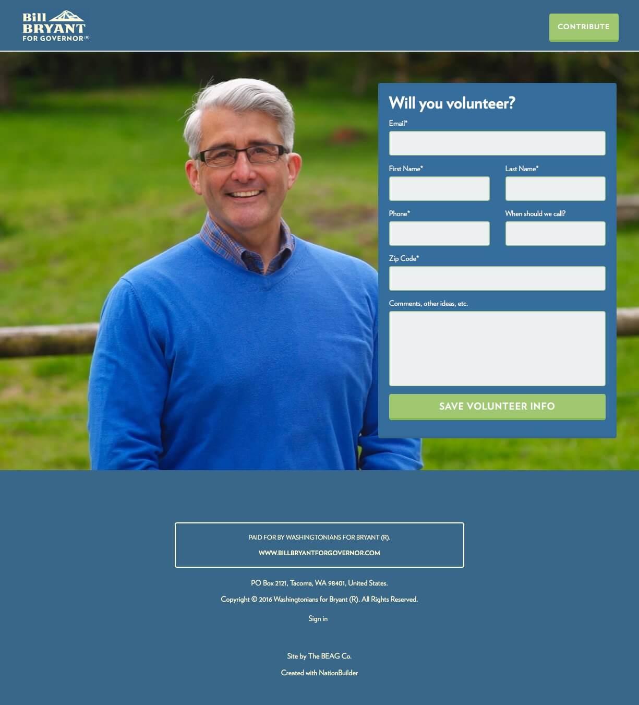 Screenshot: Landing Pages