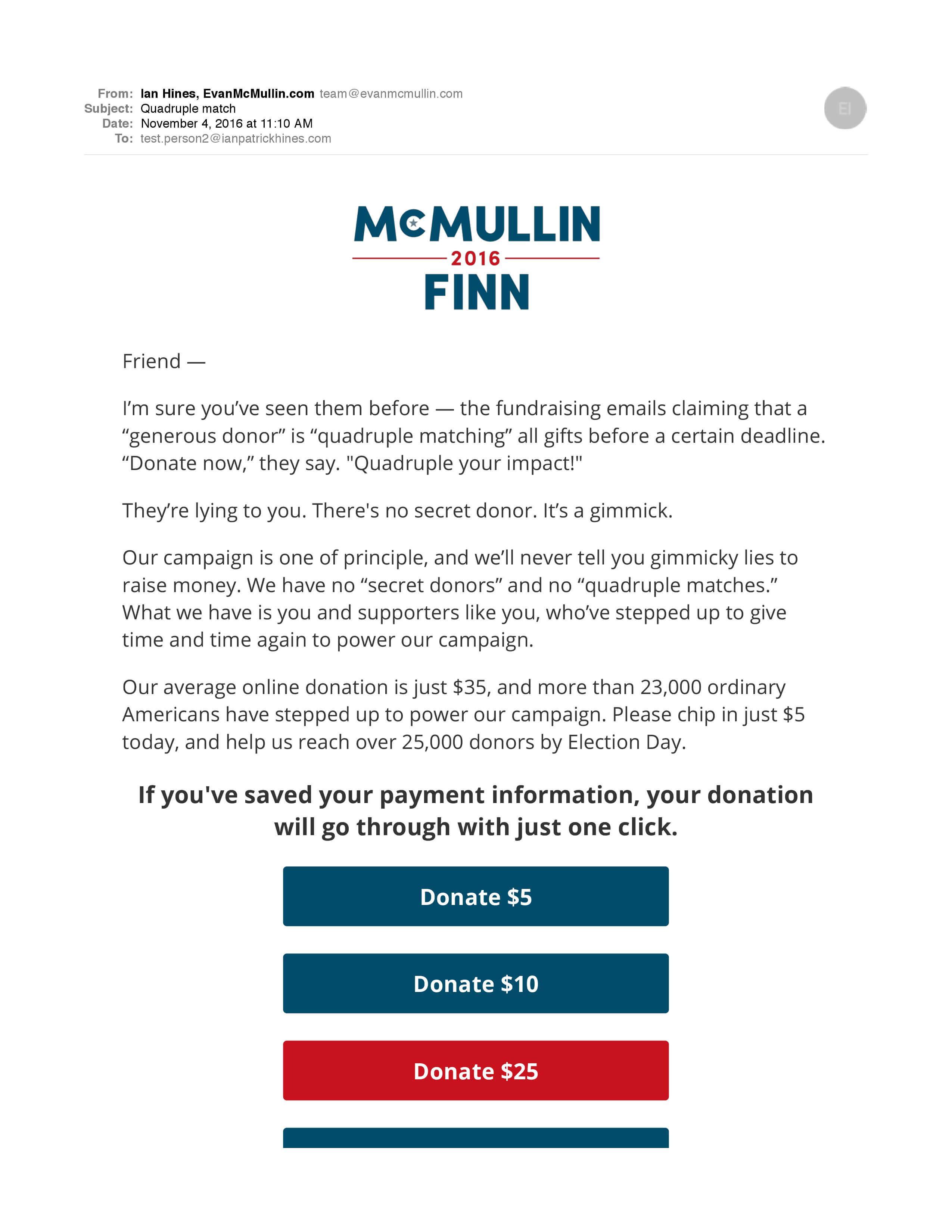 Screenshot: Fundraising Emails