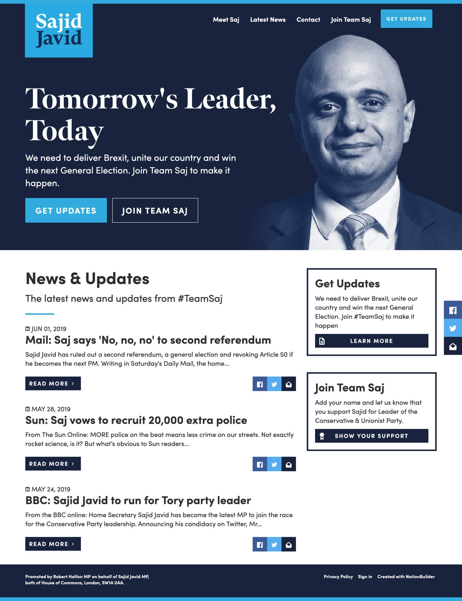 Screenshot: The Homepage