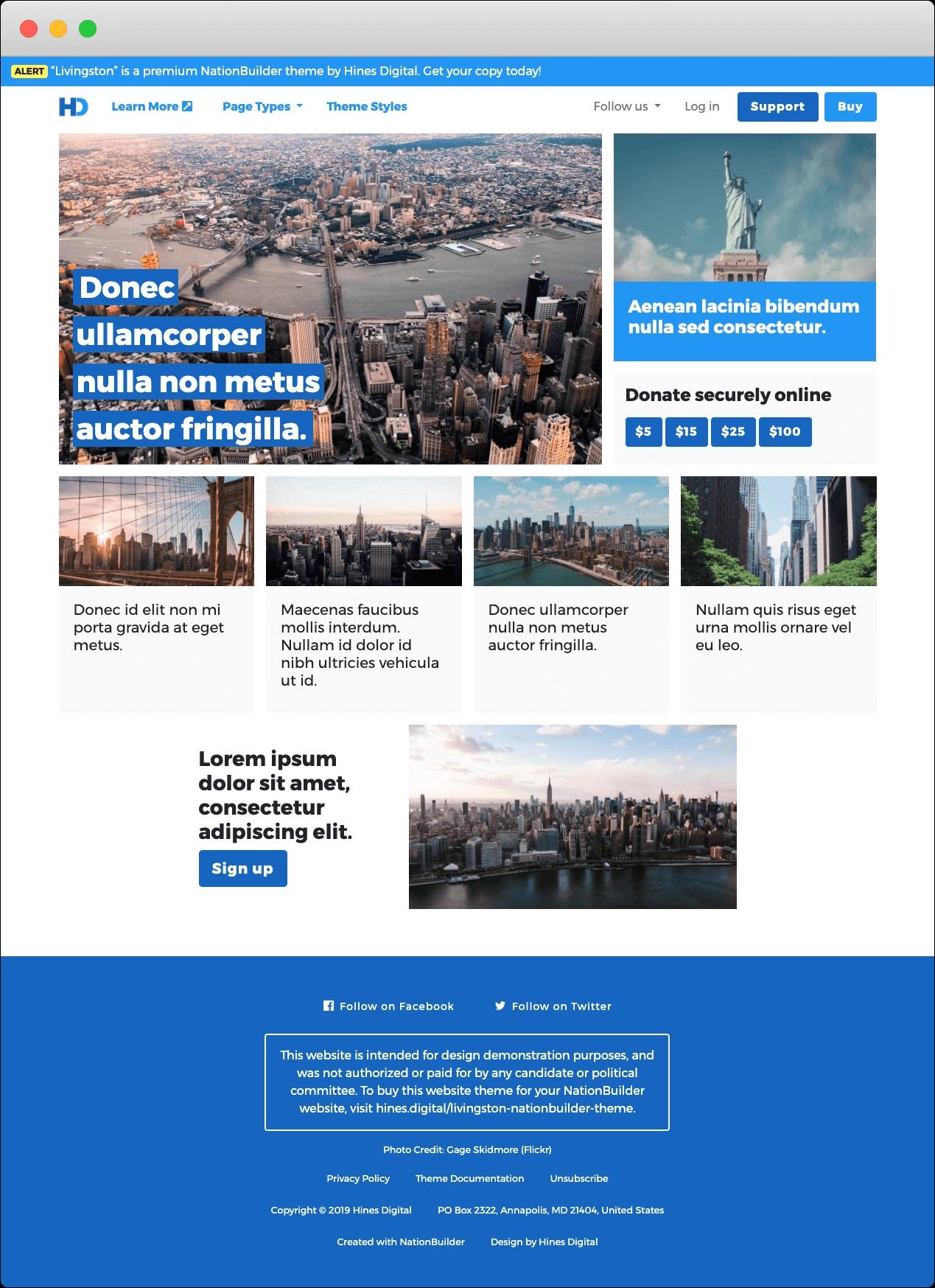 Screenshot: Livingston - A Premium NationBuilder Theme by Hines Digital