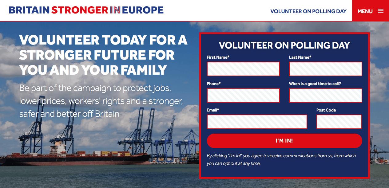 Screenshot: Britain Stronger in Europe Homepage