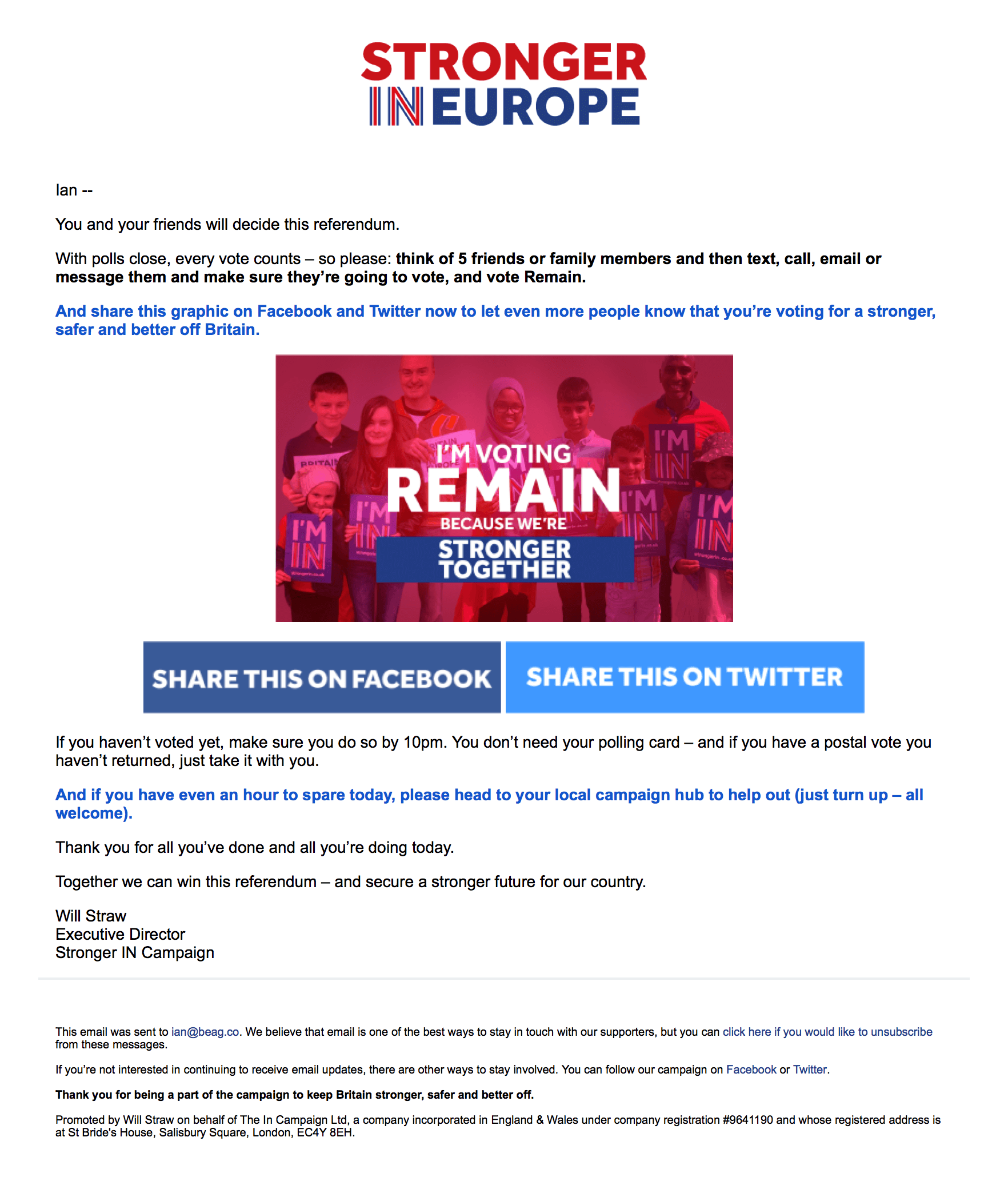 An example of a supporter engagement email, sent on Polling Day. (June 23, 2016)