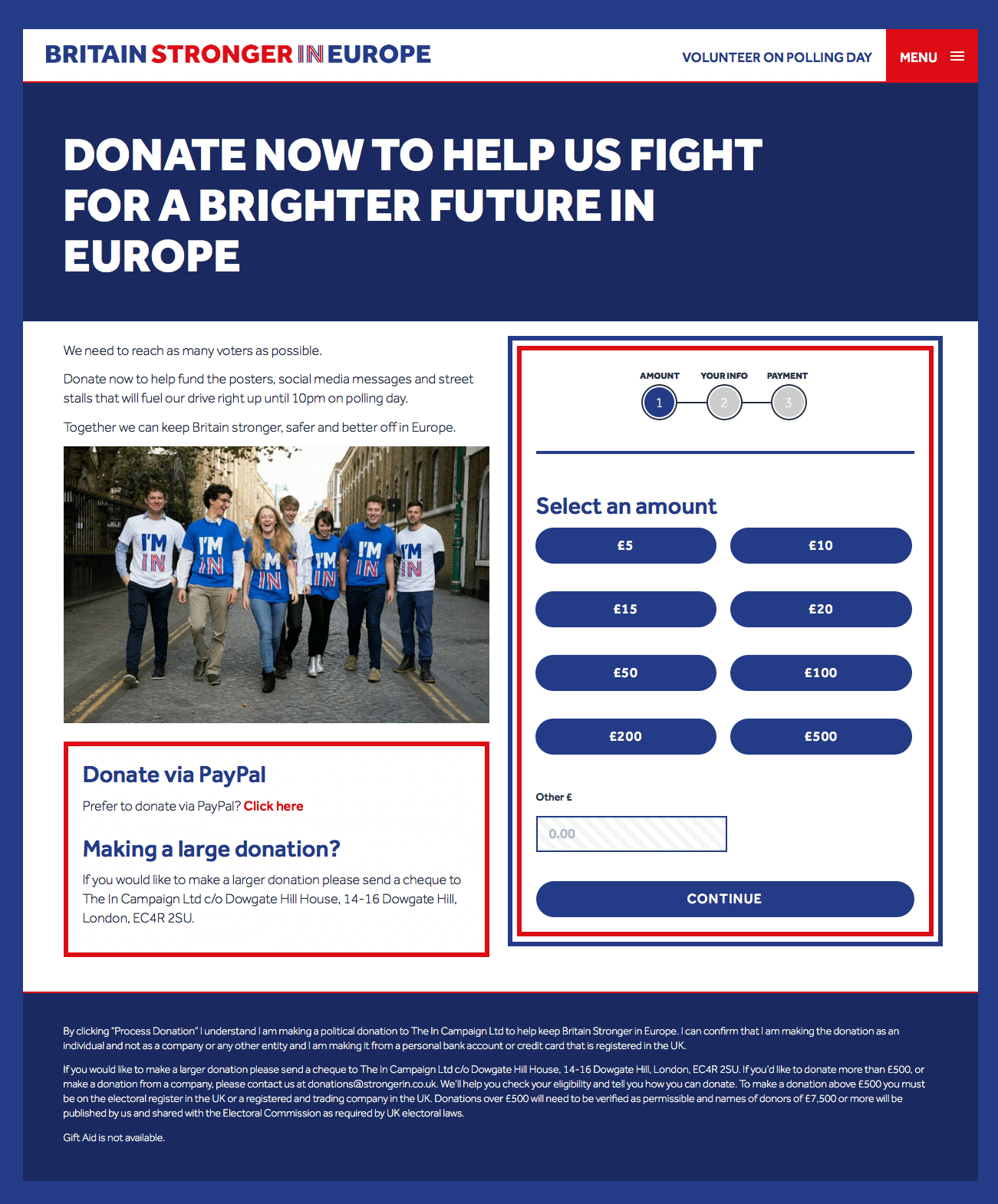 The In Campaign's Primary Donation Page (June 22, 2016)