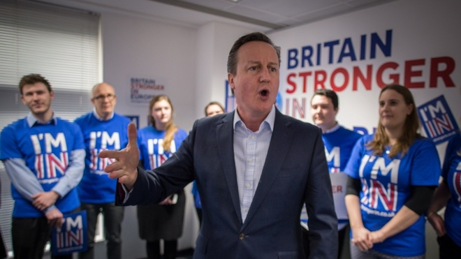 Then British Prime Minister David Cameron, speaking in opposition to the 2016 Brexit referendum.