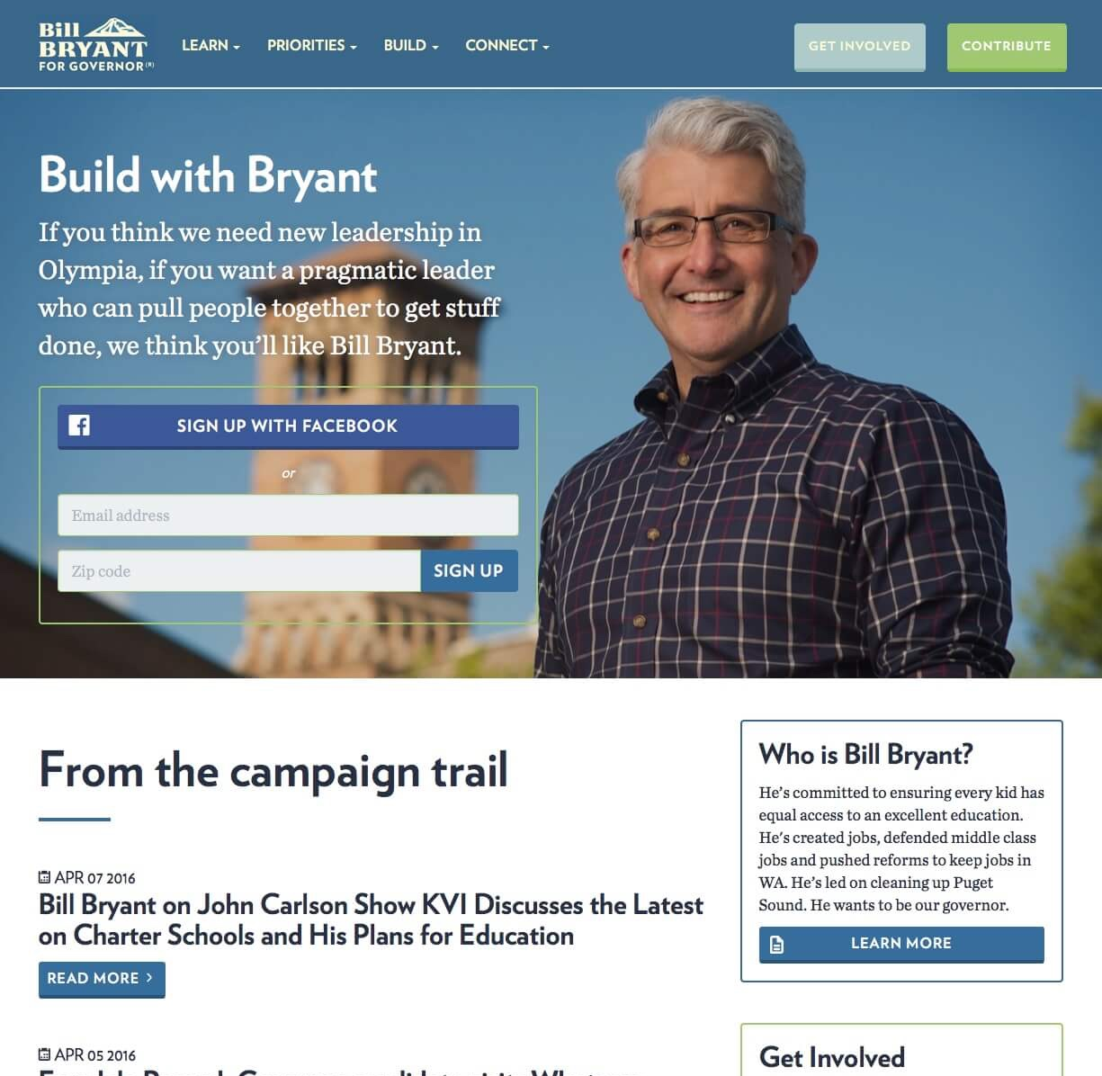 Screenshot: Bill Bryant for Governor 2016 Homepage