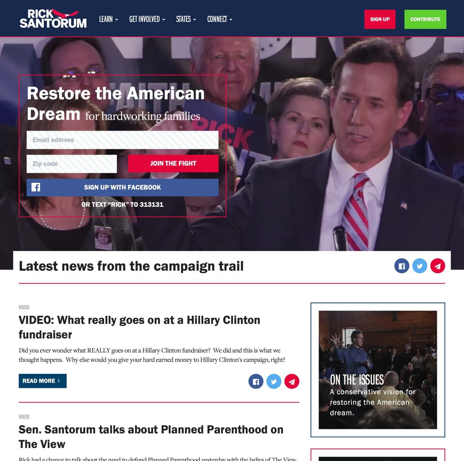 Screenshot: Rick Santorum for President Homepage