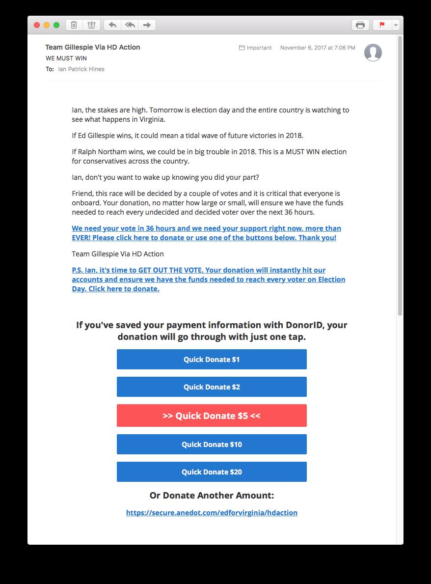 Screenshot: Fundraising Email