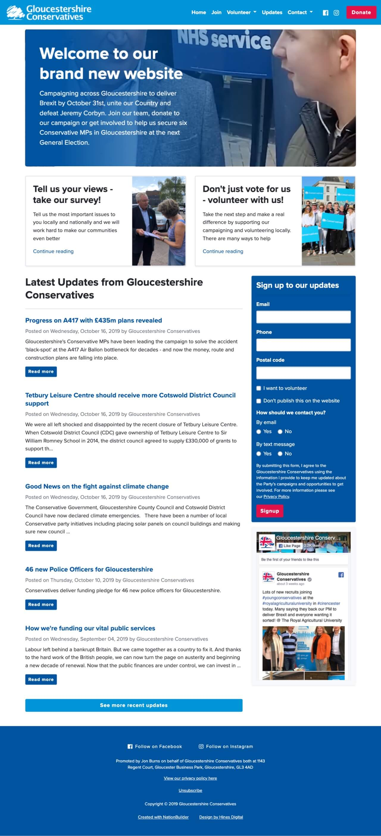 Screenshot: Gloucestershire Conservatives' Homepage