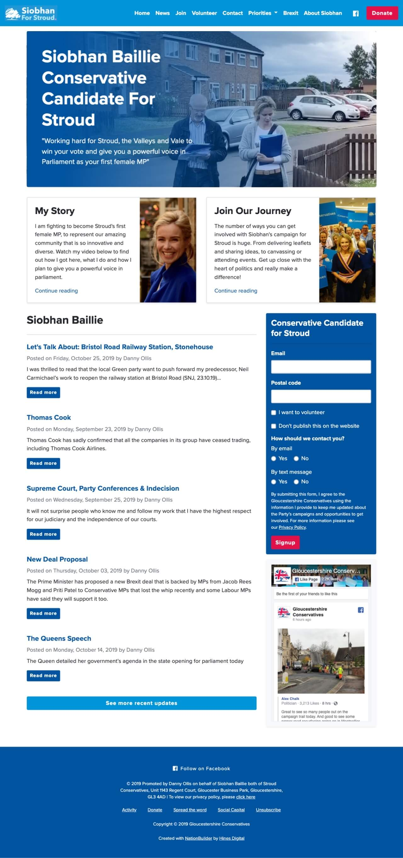 Screenshot: Siobhan Baillie Homepage