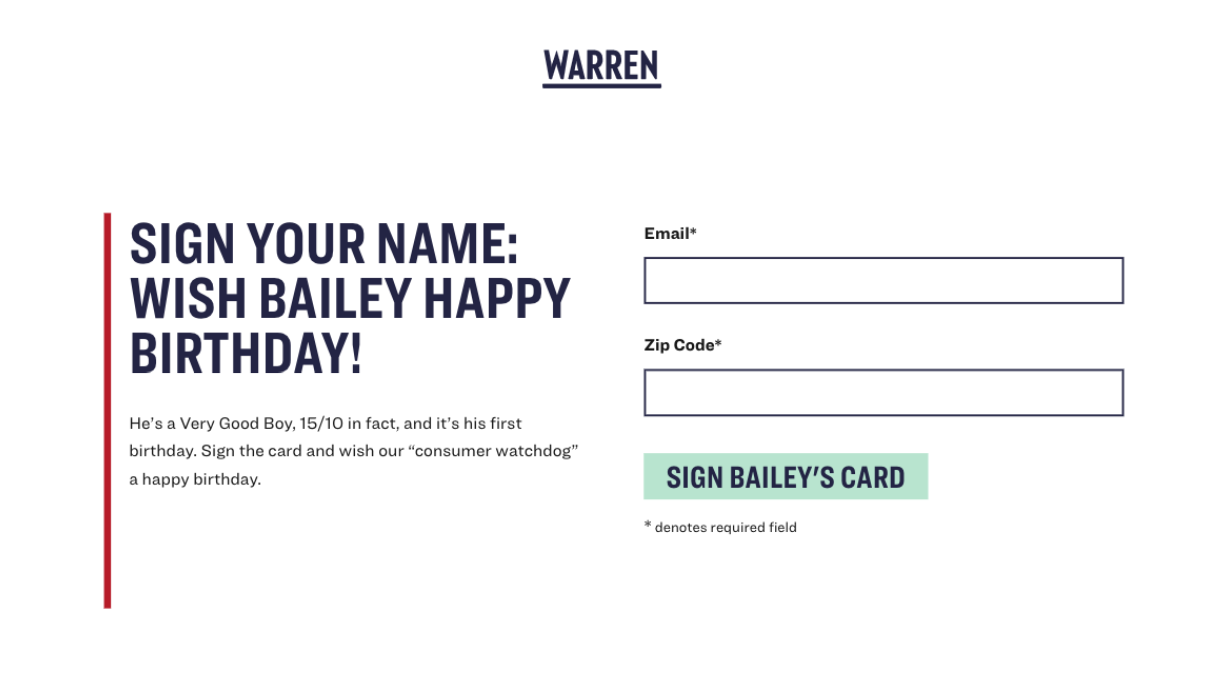 Elizabeth Warren Card
