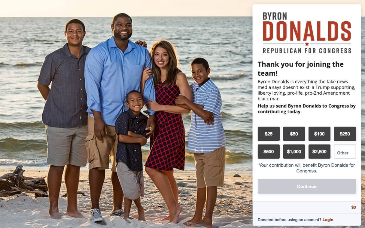 Screenshot: Byron Donalds' Donation Page
