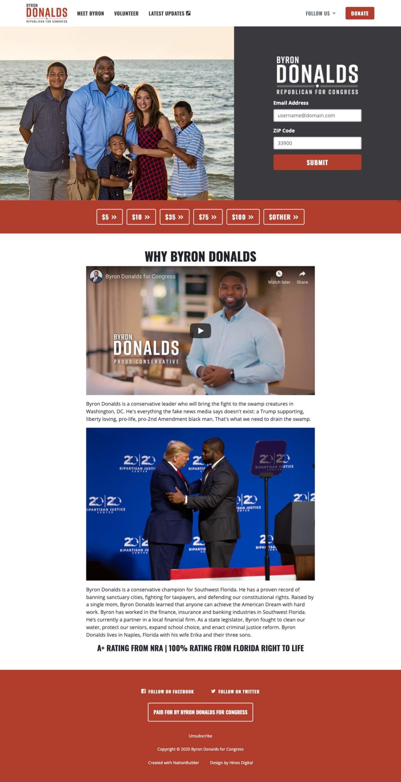 Screenshot: Byron Donalds' Homepage (January 7, 2020)