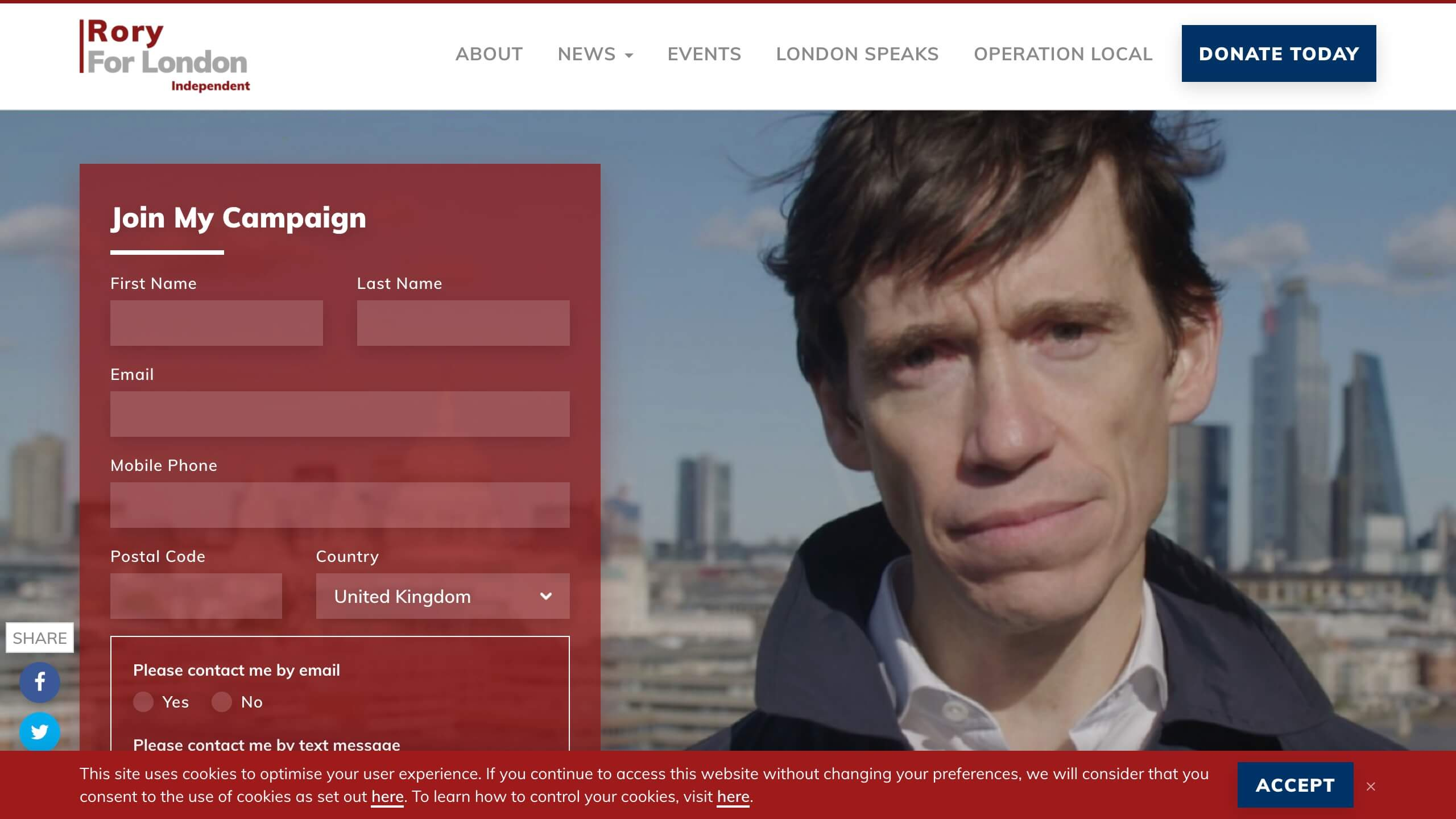 Screenshot: Rory Stewart's Pre-Launch Homepage